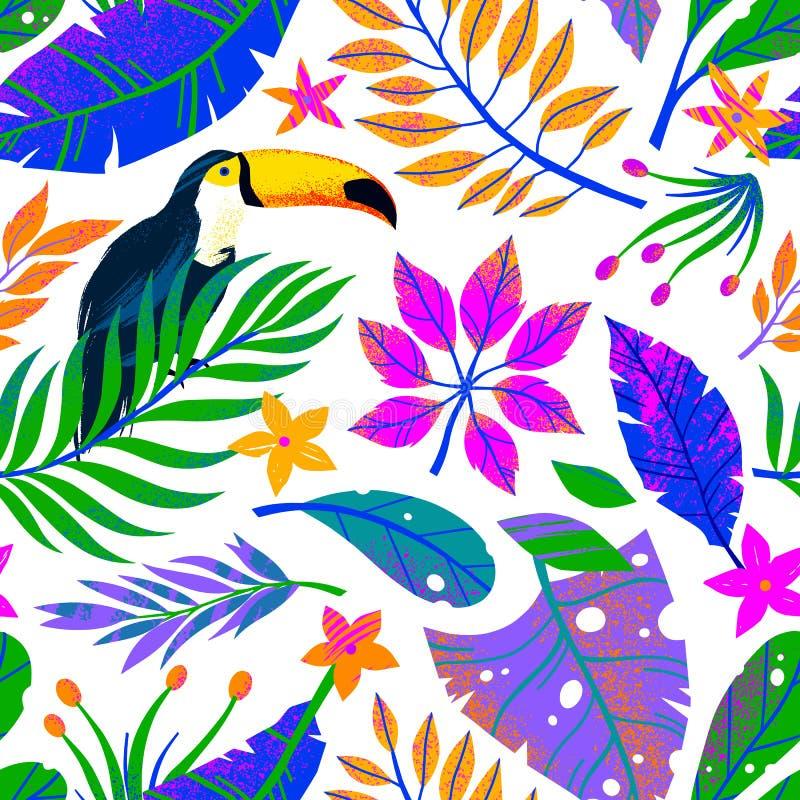 Modelo inconsútil del vector del verano con las hojas, el tucán y las flores tropicales exhaustos de la mano imagenes de archivo