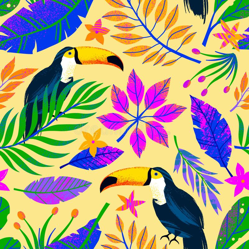 Modelo inconsútil del vector del verano con las hojas, los tucanes y las flores tropicales exhaustos de la mano ilustración del vector