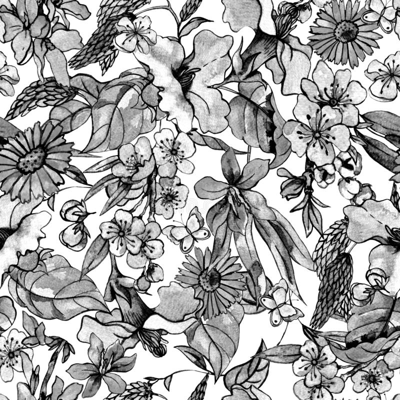 Modelo inconsútil del verano colorido floral de la acuarela, wildflowers stock de ilustración