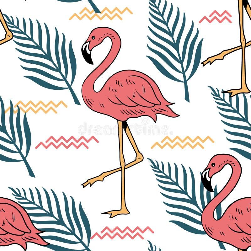 Modelo inconsútil del verano con el flamenco rosado stock de ilustración