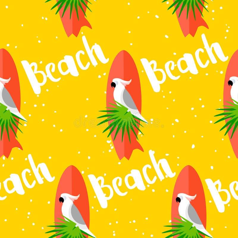 Modelo inconsútil del verano con el loro, la tabla hawaiana, las hojas de palma y el texto en fondo amarillo Diseño plano stock de ilustración