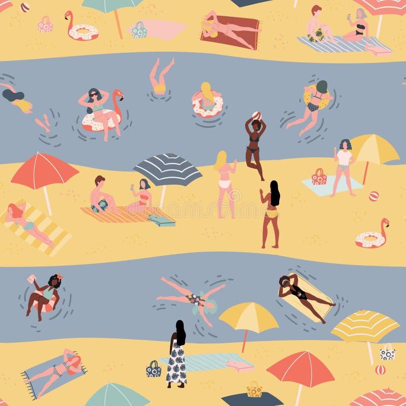 Modelo inconsútil del verano con la gente en la playa Fondo exhausto del estilo del garabato de la mano stock de ilustración