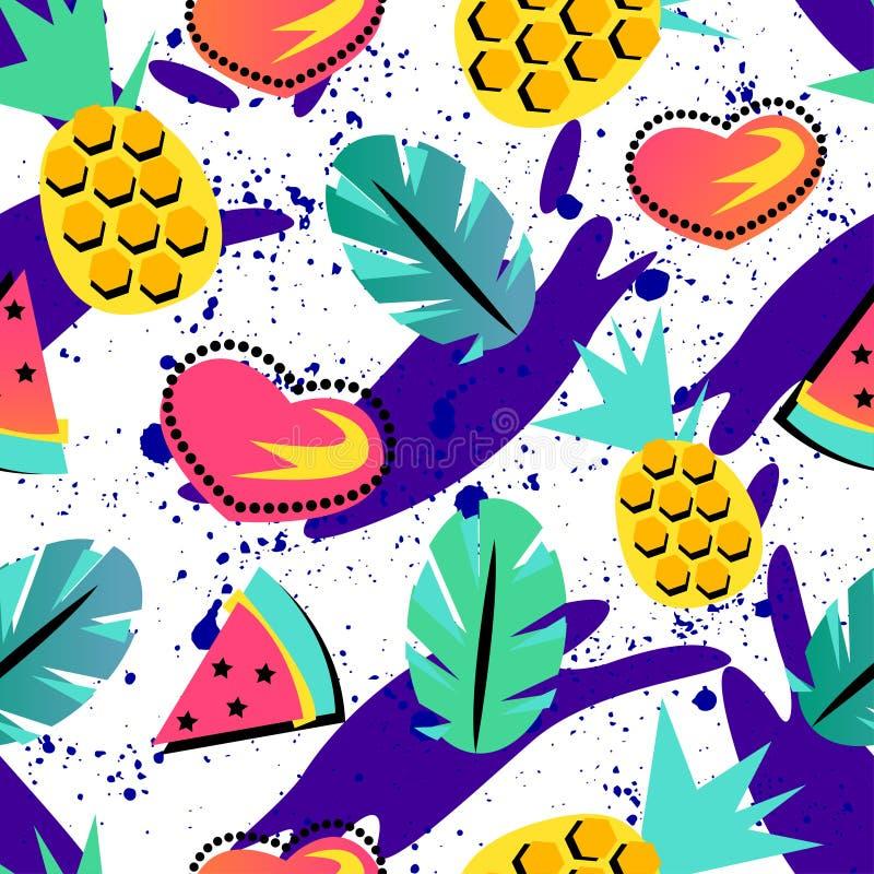 Modelo inconsútil del verano con la piña y sandía anaranjada brillante y elemento tropical en el fondo del brith para los adolesc stock de ilustración