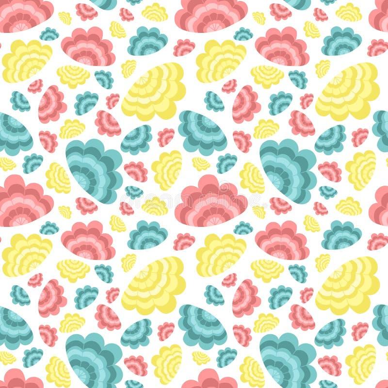 Modelo inconsútil del verano con las cáscaras del rosa, azules y amarillas Ejemplo del mar del vector para el día de fiesta, fond libre illustration