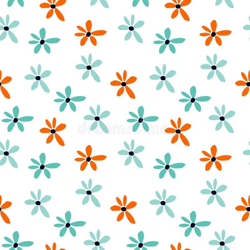 Modelo incons?til del verano con las flores azules y anaranjadas Impresi?n floral de la historieta libre illustration