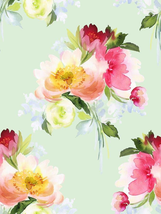 Modelo inconsútil del verano con las flores de la acuarela stock de ilustración