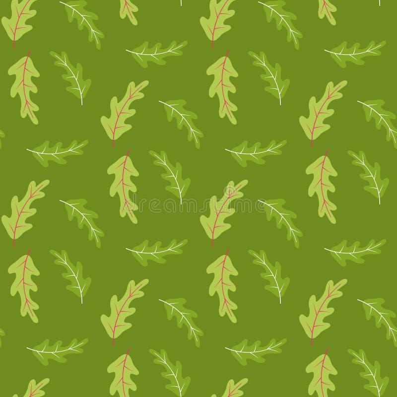 Modelo inconsútil del verano con las hojas del roble en verde stock de ilustración