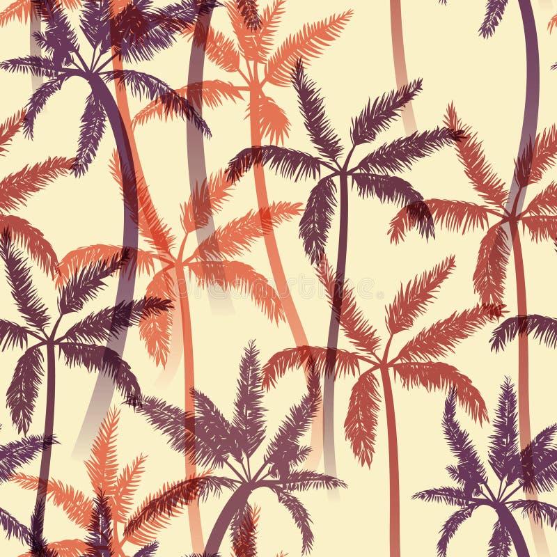Modelo inconsútil del verano con las palmas Ilustración del vector ilustración del vector