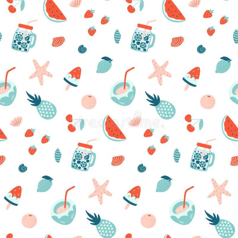 Modelo inconsútil del verano Frutas y cócteles stock de ilustración