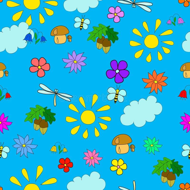 Modelo inconsútil del verano del ` s de los niños con las flores stock de ilustración