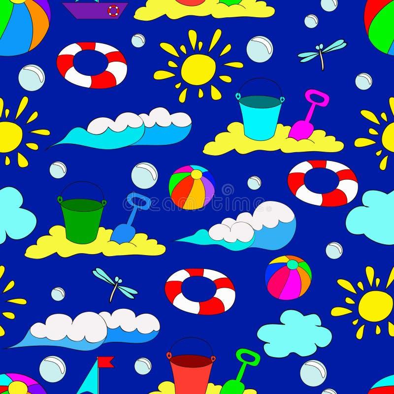 Modelo inconsútil del verano del ` s de los niños con las ondas libre illustration