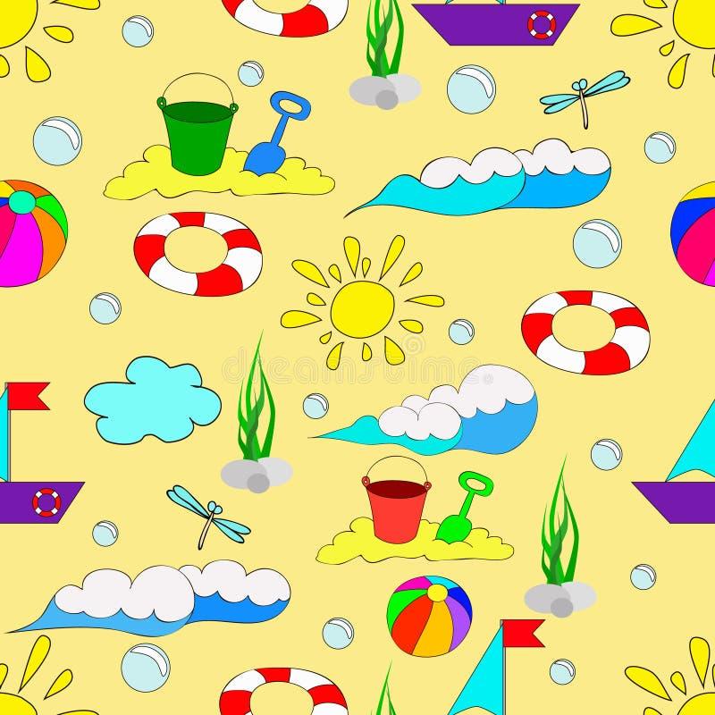 Modelo inconsútil del verano del ` s de los niños con las ondas ilustración del vector