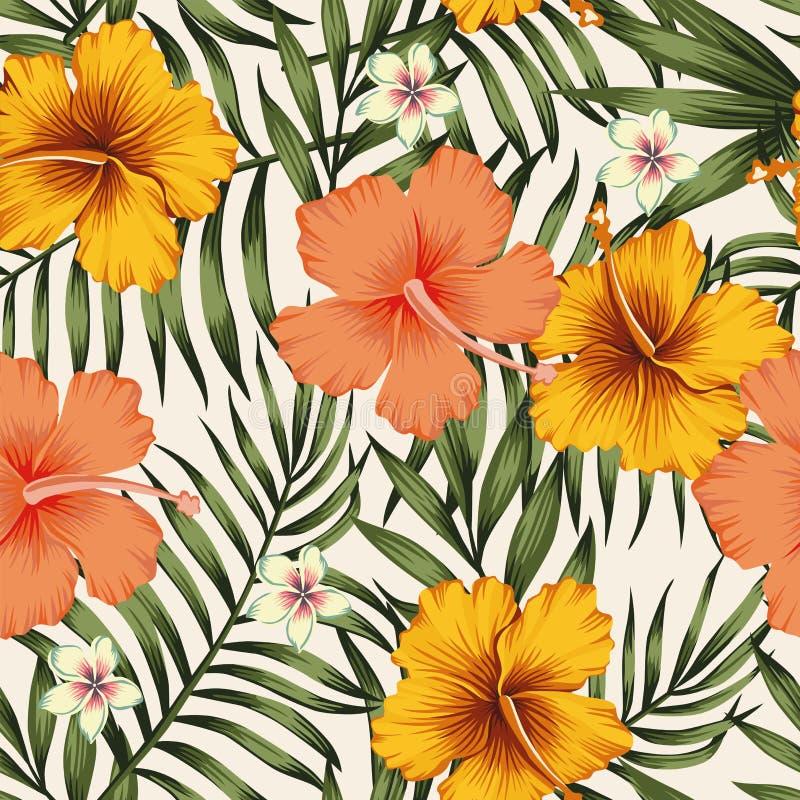 Modelo inconsútil del verde amarillo rosado de las hojas de palma del hibisco libre illustration