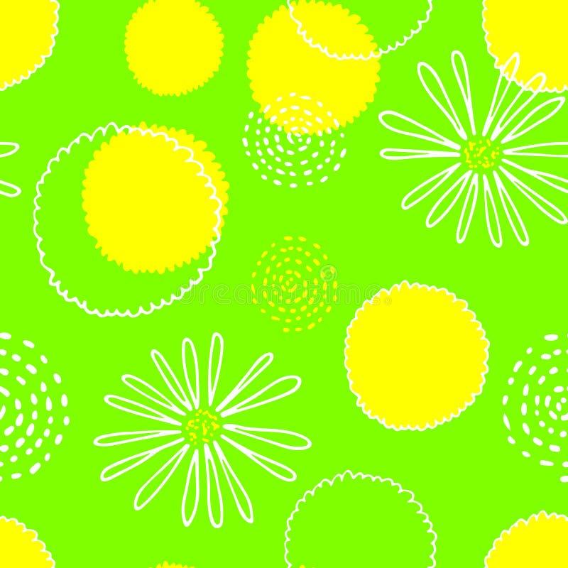 Modelo inconsútil del verde brillante y colorido de la primavera con las flores libre illustration