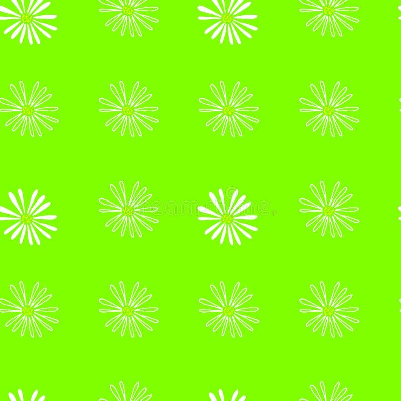 Modelo inconsútil del verde brillante y colorido de la primavera con las flores stock de ilustración