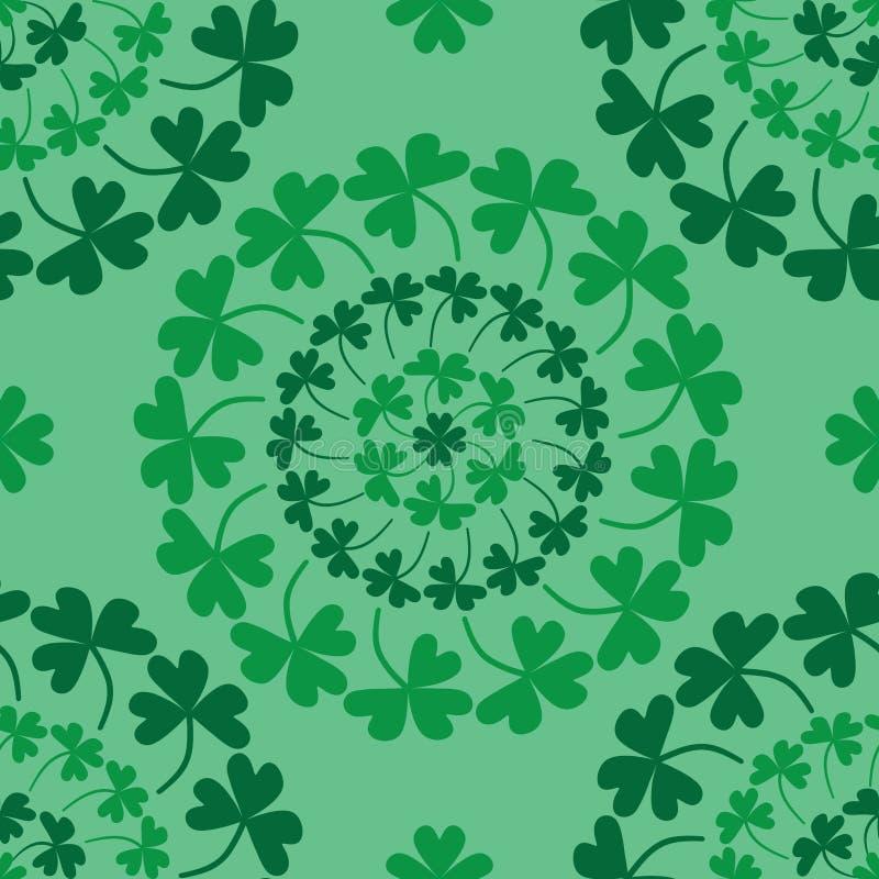 Modelo inconsútil del verde del trébol del círculo de la mandala del día del ` s de St Patrick ilustración del vector