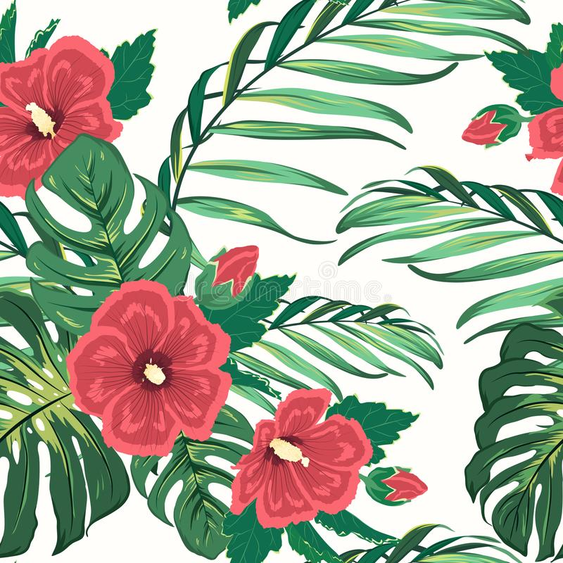 Modelo inconsútil del verdor floral tropical exótico stock de ilustración