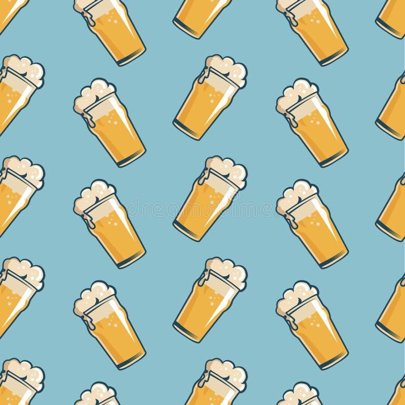 Modelo inconsútil del vidrio de cerveza Estilo retro dibujado mano stock de ilustración
