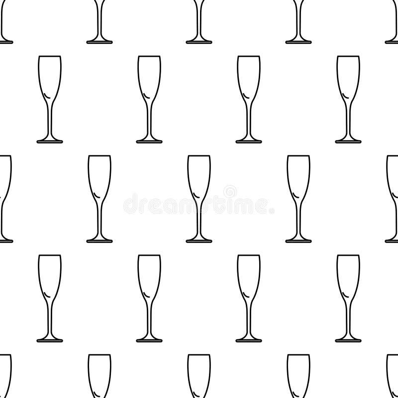 Modelo inconsútil del vidrio del icono del contorno del negro del champán en w libre illustration