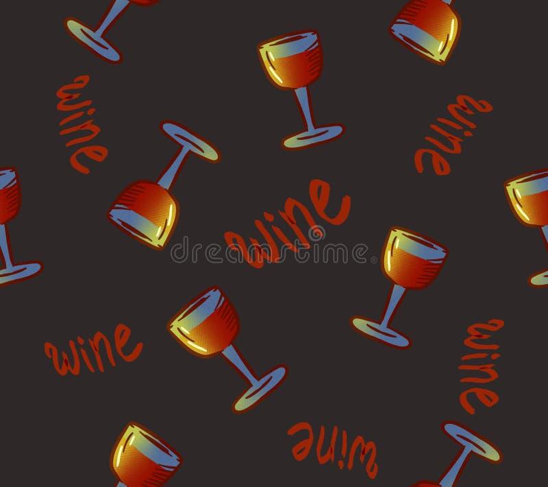 Modelo inconsútil del vino Vidrios de vino bebidas coloridas conceptuales del alcohol que repiten el fondo para el propósito de l ilustración del vector
