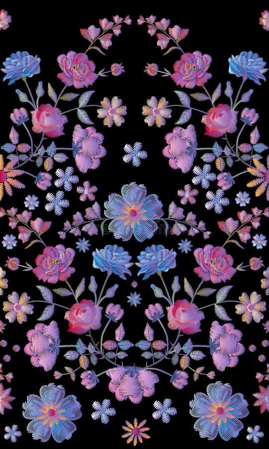 Modelo inconsútil del vintage con el bordado hermoso del volumen de flores stock de ilustración