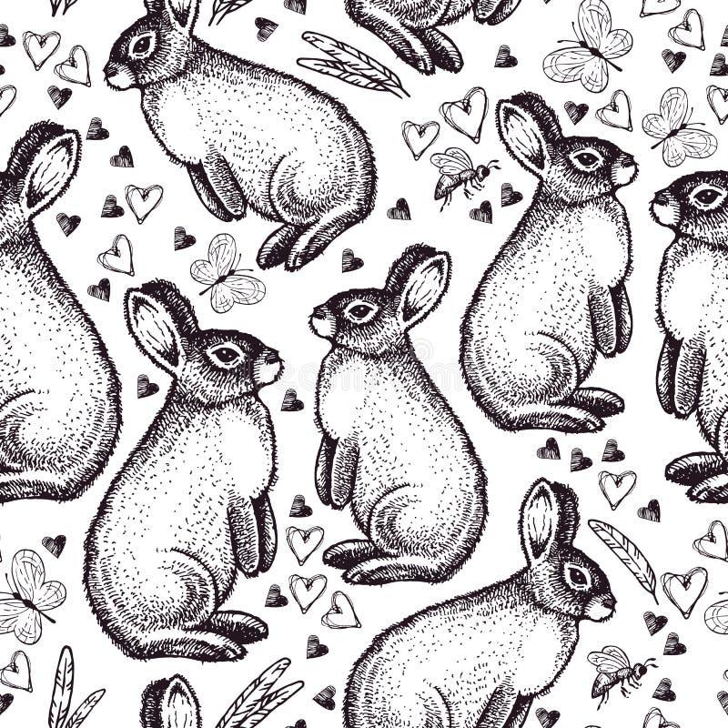 Modelo inconsútil del vintage con el conejo de pascua ilustración del vector