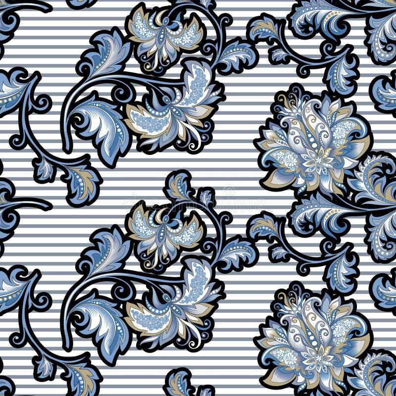 Modelo inconsútil del vintage con las flores azules decorativas stock de ilustración