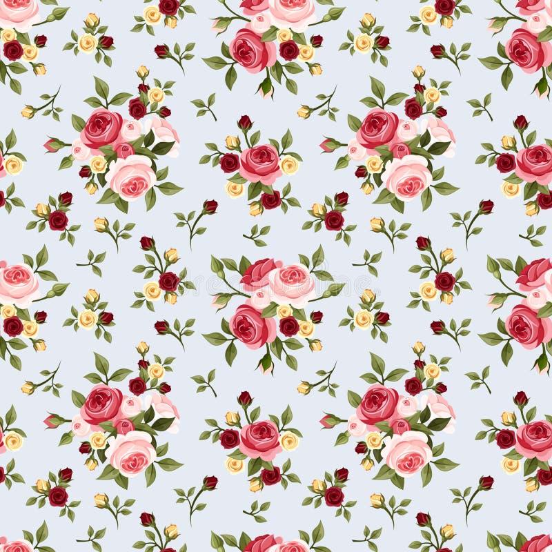 Modelo inconsútil del vintage con las rosas rosadas en azul Ilustración del vector stock de ilustración