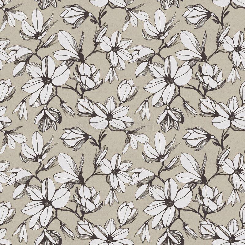 Modelo inconsútil del vintage de la flor de la magnolia en un backgroun de papel ilustración del vector