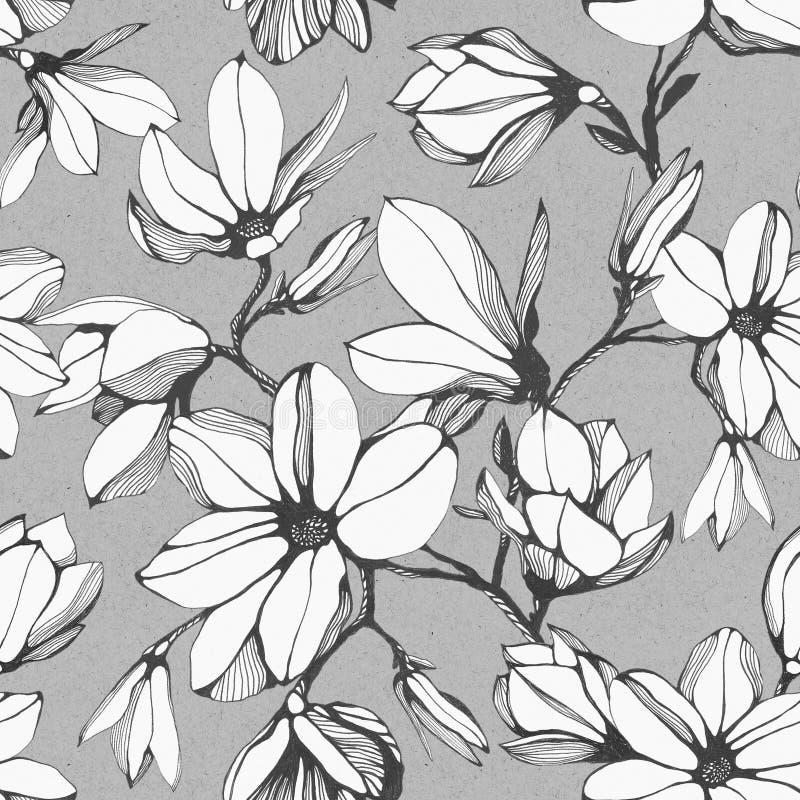 Modelo inconsútil del vintage de la flor de la magnolia en un fondo gris libre illustration