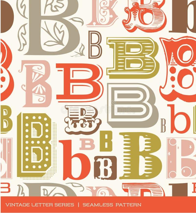 Modelo inconsútil del vintage de la letra B en colores retros stock de ilustración
