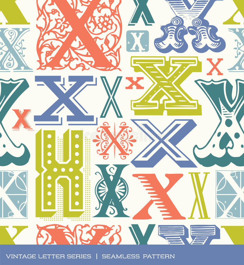Modelo inconsútil del vintage de la letra x en colores retros stock de ilustración