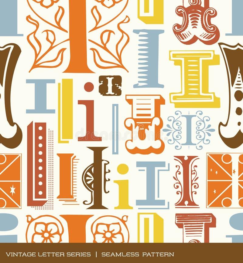 Modelo inconsútil del vintage de la letra i en colores retros stock de ilustración