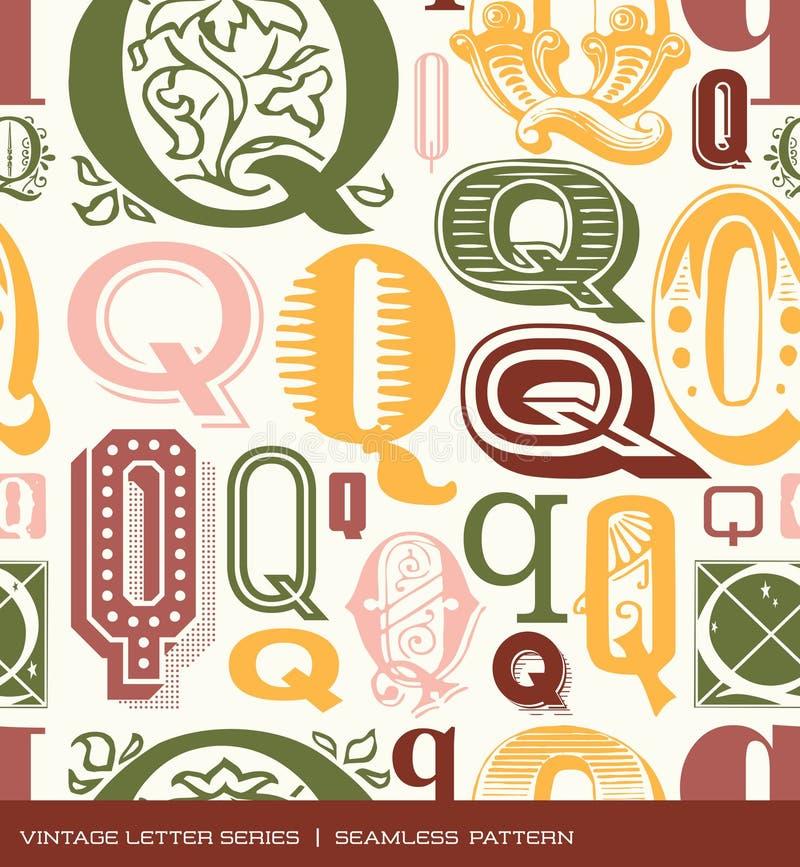 Modelo inconsútil del vintage de la letra Q en colores retros ilustración del vector