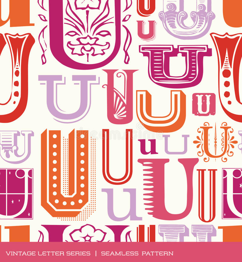 Modelo inconsútil del vintage de la letra U en colores retros ilustración del vector
