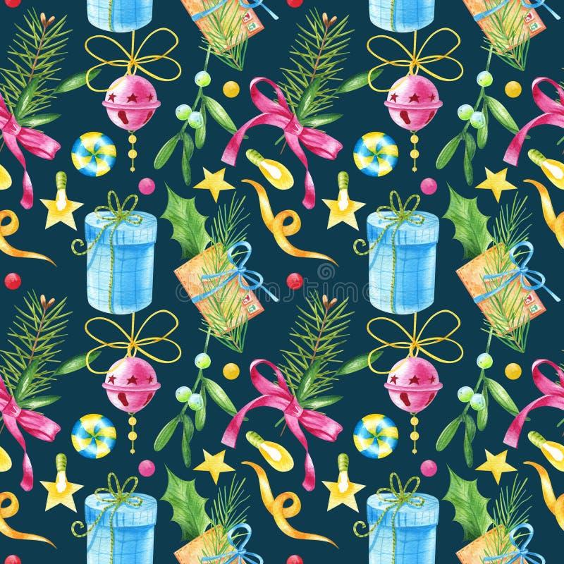 Modelo inconsútil del Watercolour con la letra del vintage, muérdago, caramelo, hojas verdes, ramas de árbol de navidad en un fon ilustración del vector