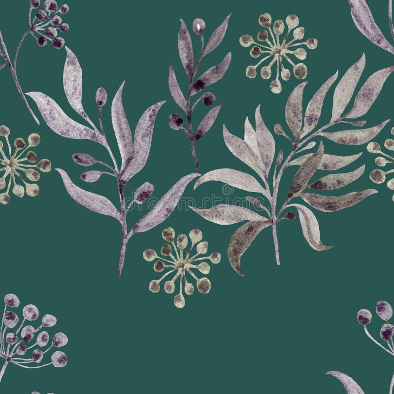 Modelo inconsútil del Watercolour con los elementos de plantas en un fondo coloreado Mano exhausta la textura del watercolour Dis ilustración del vector
