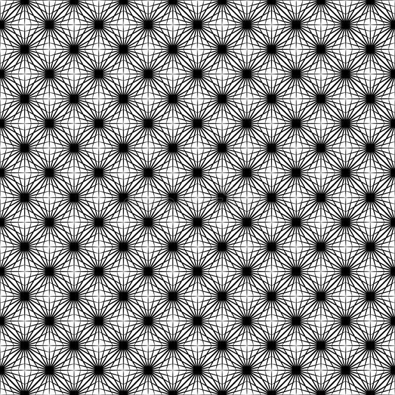 Modelo inconsútil del web blanco y negro de Asanoha stock de ilustración