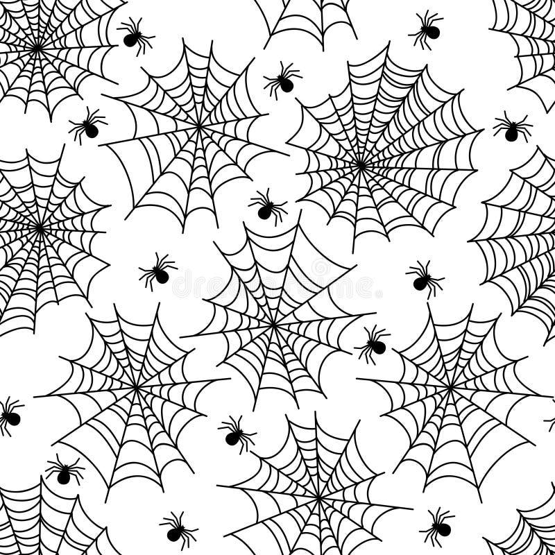 Modelo inconsútil del web de araña de la decoración del partido de Halloween stock de ilustración