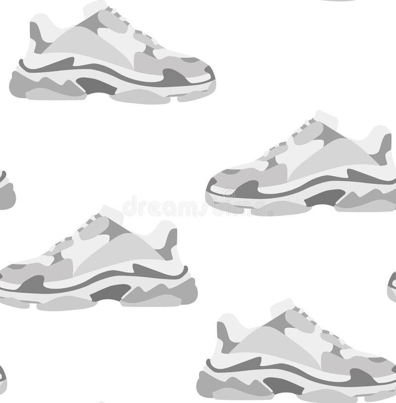 Modelo inconsútil del zapato de la zapatilla de deporte Moda del concepto Diseño plano Ilustración del vector ilustración del vector