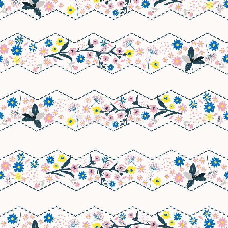 Modelo inconsútil del zigzag de la raya de la flor apacible hermosa de la libertad, stock de ilustración