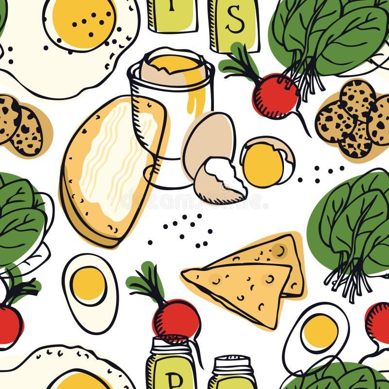 Modelo inconsútil delicioso de los huevos, de la espinaca, del rábano y de las tostadas del desayuno de la colección de la comida ilustración del vector