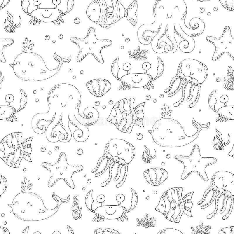 Modelo inconsútil determinado del garabato del vector del ejemplo de elementos de la vida marina Colección subacuática del mundo stock de ilustración