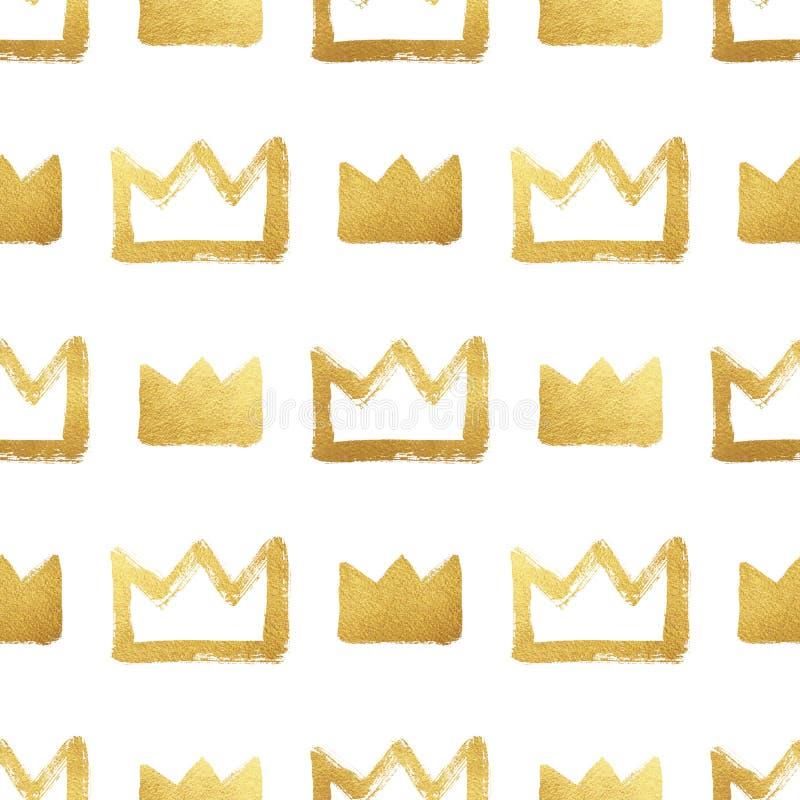 Modelo inconsútil dibujado cepillo de las coronas de oro stock de ilustración