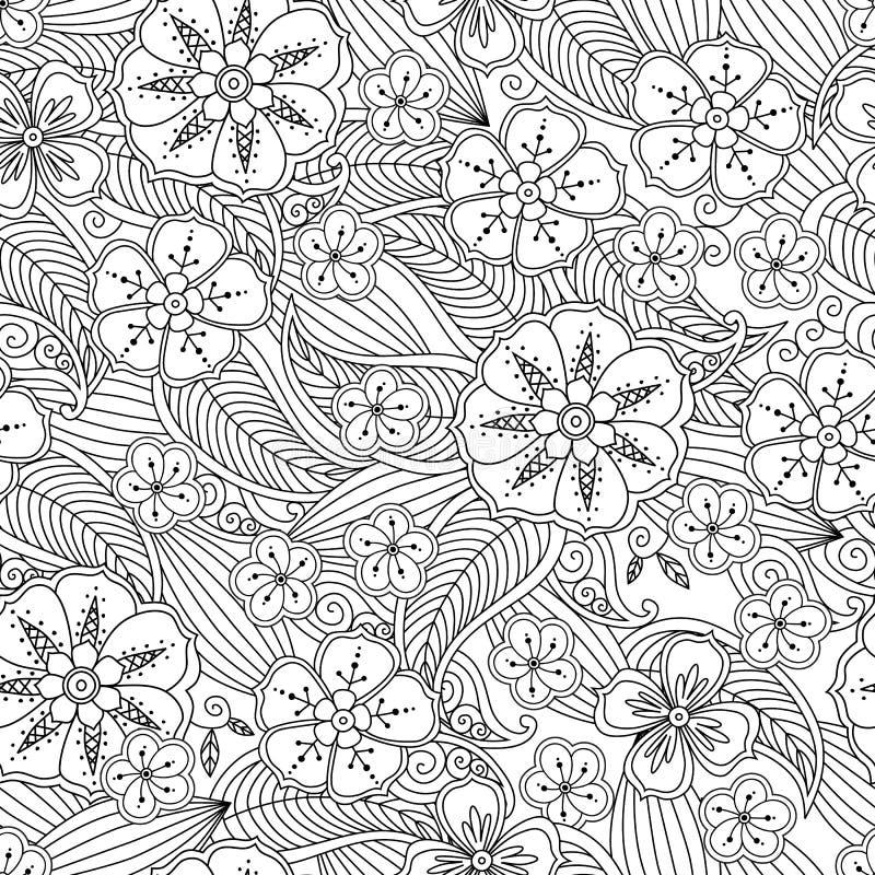 Modelo inconsútil dibujado mano abstracta del esquema con las flores y las hojas aisladas en el fondo blanco stock de ilustración