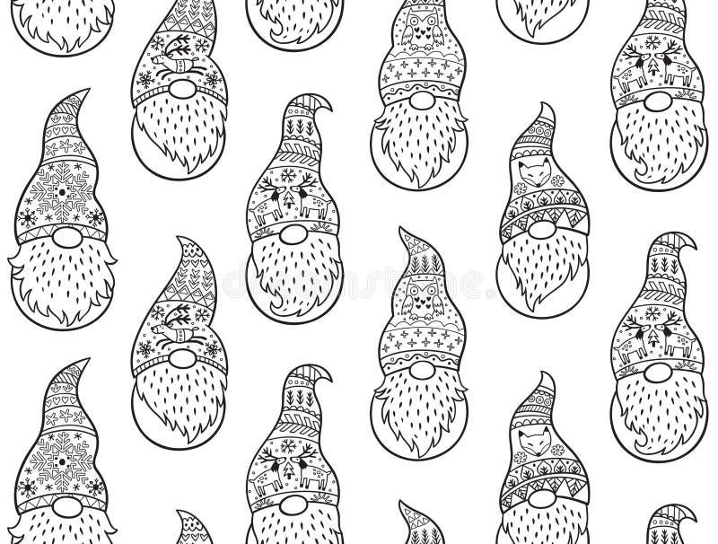 Modelo inconsútil dibujado mano blanco y negro de los gnomos del invierno libre illustration