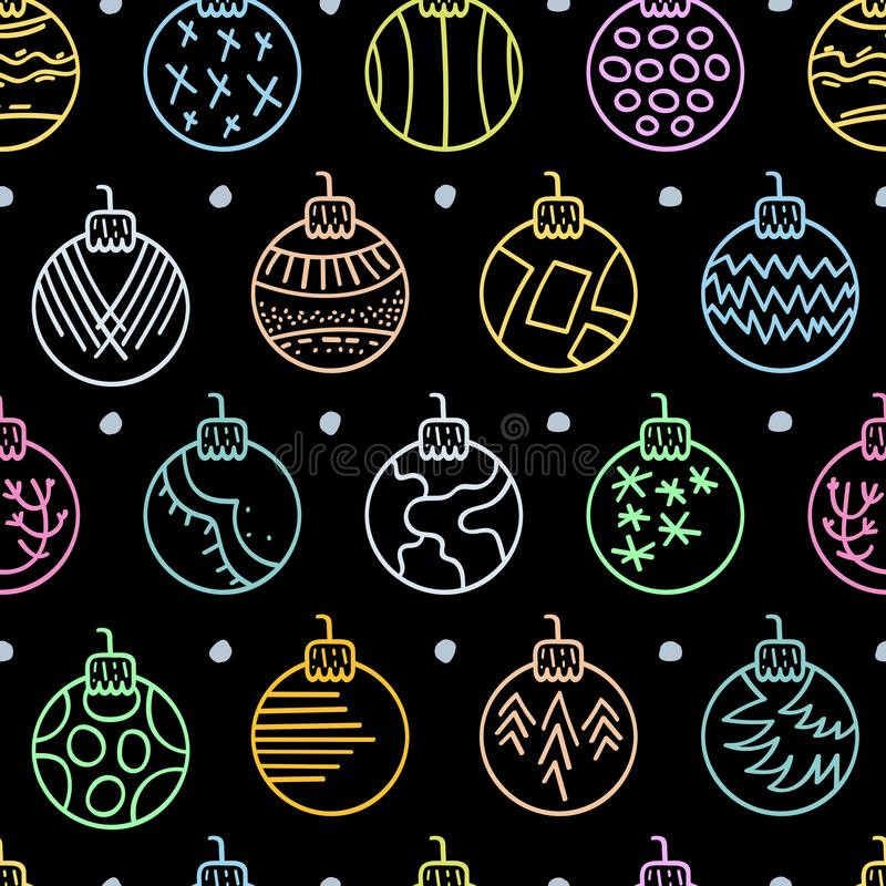 Modelo inconsútil dibujado mano colorida con las bolas de la Navidad en fondo negro ilustración del vector