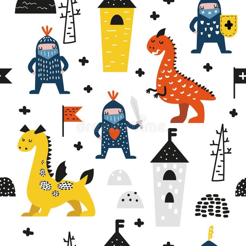 Modelo inconsútil dibujado mano con los dragones y los caballeros Fondo infantil creativo con los muchachos lindos del héroe para ilustración del vector