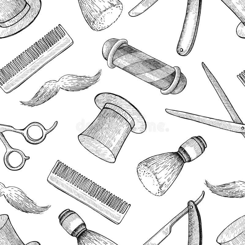 Modelo inconsútil dibujado mano de Barber Shop del vintage del vector detallado ilustración del vector