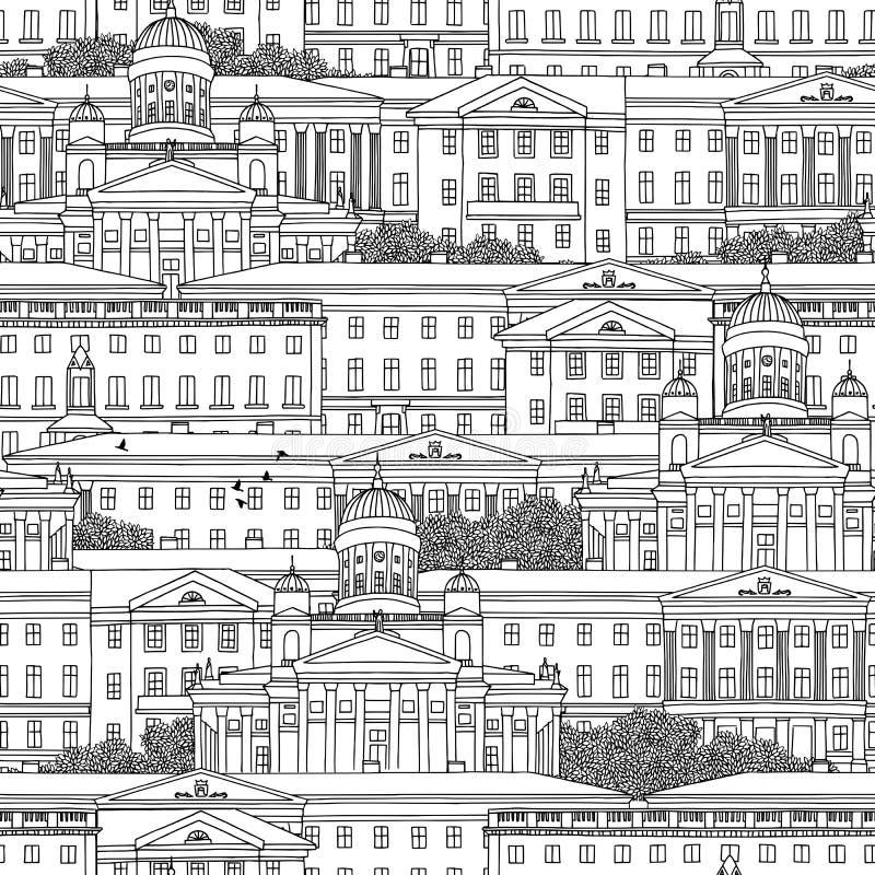 Modelo inconsútil dibujado mano de Helsinki stock de ilustración
